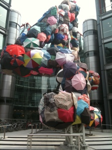 Outside the Channel 4 building with a giant 4 made out of umbrellas